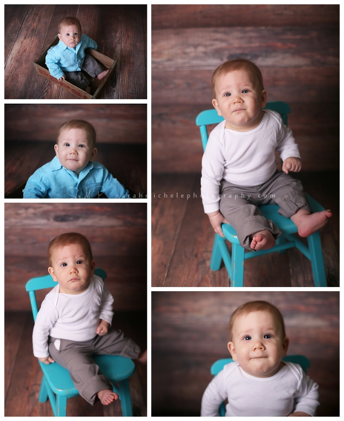 baby boy photography, barn wood backdrop, blue vintage chair