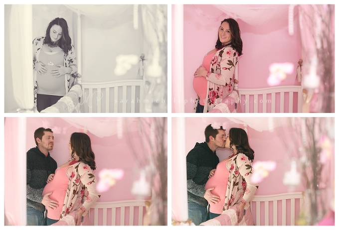 Maternity Photography baby girls pink room