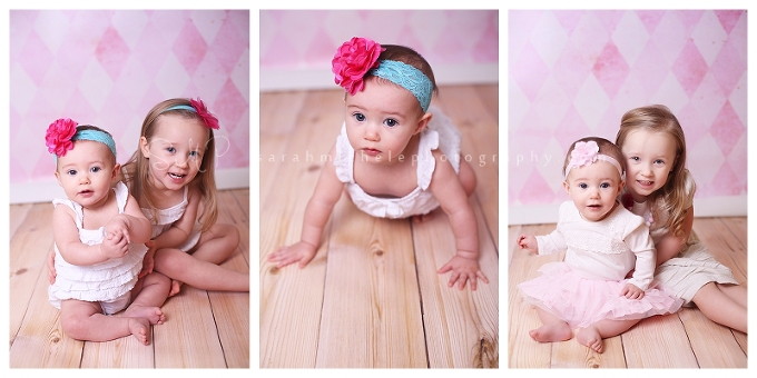 Childrens portraits featuring bright headbands