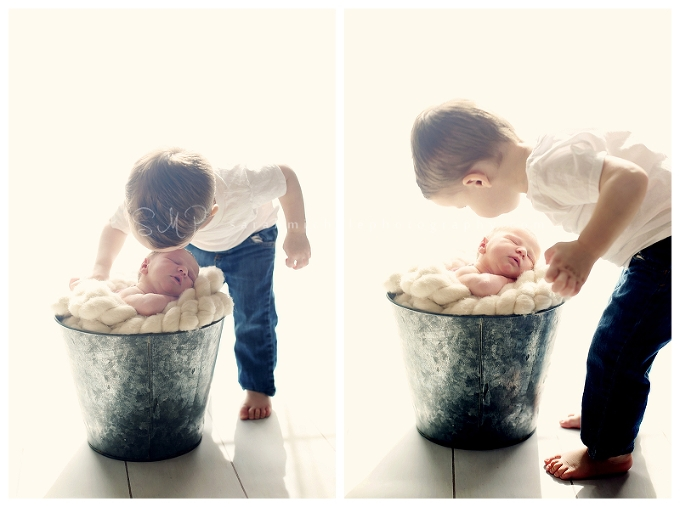 newborn portraits with big brother natural light