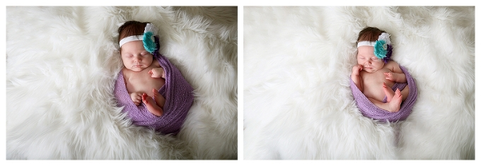 Annapolis Newborn Photographer 3 week old baby wrapped in lilac
